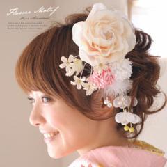 [成人式の振袖などにオススメ][薔薇の髪飾り]白/薔薇/パールビーズ/フラワー/ラメ/袴/卒業式/浴衣/ヘアアクセ