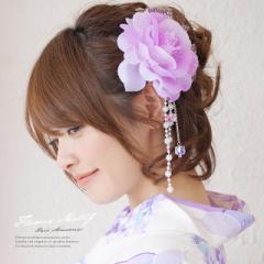 【浴衣にオススメ☆花の髪飾り】紫/薔薇/ビーズ/浴衣/夏