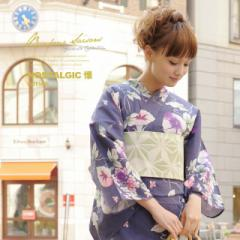 [浴衣3点セット bonheur saisons【Nostalgic Gallery「懐」】]女性浴衣/紺/朝顔/小花/綿麻/yk02/帯/下駄