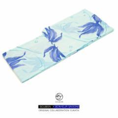 【bonheur saisons(ボヌールセゾン)レディース浴衣】水色/ブルー/金魚/縞/ラメ/綿/花火大会/夏祭り