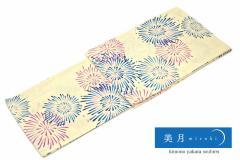 [美月(mizuki)レディース浴衣]クリーム/花火/青/紫/綿麻/女性浴衣/送料無料