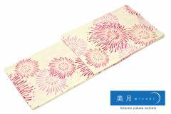 [美月(mizuki)レディース浴衣]クリーム/花火/赤/ピンク/綿麻/女性浴衣/送料無料