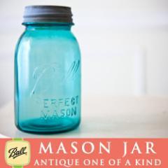 【メイソンジャー/アンティーク Zinc蓋つき】メイソンジャー Ball Mason jar ビンテージ Quart(クォ