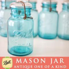 【メイソンジャー/アンティークワイヤー型ブルー×ホワイト蓋】メイソンジャー Ball Mason jar ビ