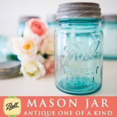 【メイソンジャー/アンティークブルー Zinc蓋つき】メイソンジャー Ball Mason jar ビンテージ Pint