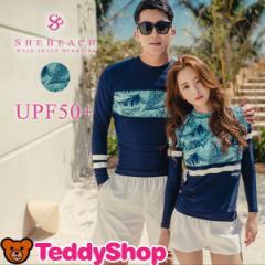 即納 UPF50+ レディース ラッシュガード 韓国ブランド SHEBEACH BLUE PALM RASHGUARD (WOMEN) シービーチ 正規品