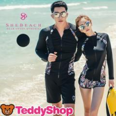 即納 水着 レディース ラッシュガード ショーツ 2点セット 韓国ブランド SHEBEACH シービーチ 正規品 体型カバー セパレート 長袖