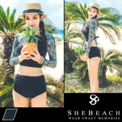 水着 レディース ハイウエスト ショーツ 韓国ブランド SHEBEACH シービーチ 正規品 体型カバー ショートパンツ 短パン かわいい 黒