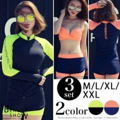 送料無料 ラッシュガード 長袖 水着 大きいサイズ バンドゥ ネオン M L XL XXL