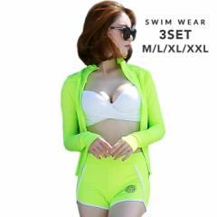 送料無料 ラッシュガード 長袖 水着 大きいサイズ バンドゥ M L XL XXL 蛍光