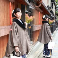 着物(きもの) コート(こーと)ポンチョ ウール混ツイード着物女性コート ファー衿付き MISAYAMA ポンチョ ケープ コート〔zu〕