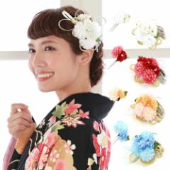 髪飾り 卒業式 成人式 袴「小花に飾り紐と銀ビラ付髪飾り2点セット」振袖 コサージュ 花 赤 白 青