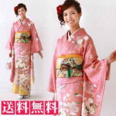 正絹 振袖 レンタル 成人式 20点フルセット  「ピンク 桜 菊 牡丹 鹿の子」 着物 結婚式 貸衣装