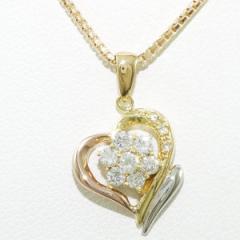 PT900 プラチナ K18YGPG ネックレス ダイヤ 0.30 中古ジュエリー