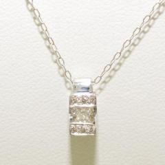 K18 18金 WG ホワイトゴールド ネックレス ダイヤ 0.18 中古ジュエリー