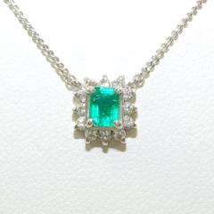 PT900 プラチナ PT850 ネックレス エメラルド 0.21 ダイヤ 0.12 中古ジュエリー