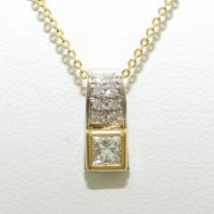 PT900 プラチナ K18YG ネックレス ダイヤ 0.27 SI1 0.07 鑑別書 中古ジュエリー
