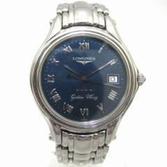 時計 ロンジン メンズ腕時計 ゴールデン ウィング L3.606.4 SS クオーツ ネイビー文字盤 電池交換済み【中古】