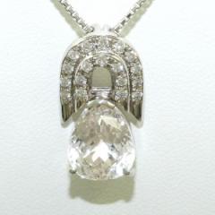 PT900 プラチナ PT850 ネックレス クンツァイト 5.537 ダイヤ 0.31 証明書 中古ジュエリー