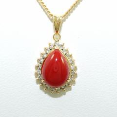 K18 18金 YG イエローゴールド ネックレス サンゴ ダイヤ 0.21 中古ジュエリー