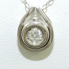 PT850 プラチナ ネックレス ダイヤ 0.10 中古ジュエリー