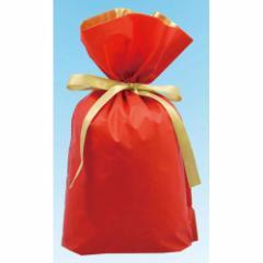 梨地リボン付き巾着袋 レッド×ゴールド Lサイズ 20枚セット 【底マチ付ラッピング袋 ギフトバッグ 包装 赤色】