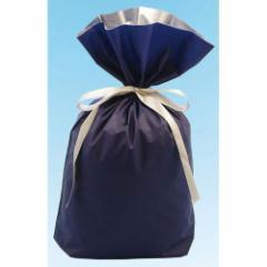 梨地リボン付き巾着袋 ネイビー×シルバー Lサイズ 20枚セット 【底マチ付ラッピング袋 ギフトバッグ 包装 紺色】