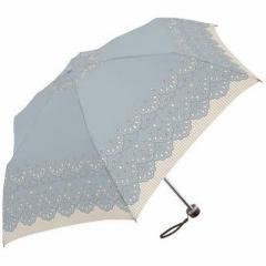 ミクニ  【送料無料】 EE-00370 カットワーク レース 全3色 折りたたみ傘 手開き 日傘/晴雨兼用傘 ブルー 6本骨 55cm  【新品・税込】