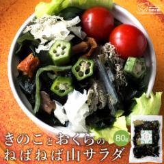 サラダが簡単♪きのことおくらのねばねば山サラダ 80g ダイエット 海藻 低カロリー きのこ まいたけ しめじ なめこ きくらげ