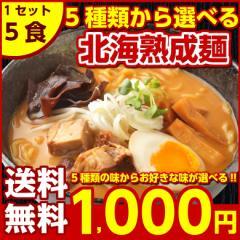 北海道ラーメン【送料無料】5種から選べる.北海道熟成ラーメン.5食セット 1000円ポッキリ お取り寄せ ご当地グルメ ギフト【