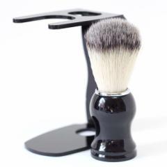 シェービング ブラシ 100% アナグマ 毛 スタンド付き / 泡立ちが違う 理容 洗顔 髭剃り マッサージ 効果 ギフト プレ
