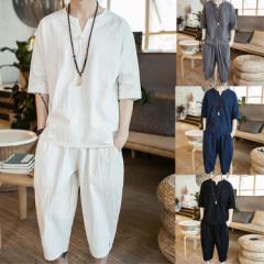 人気トップリネンセットアップメンズ 半袖シャツ 7分丈パンツ プリント 薄手 2点セットアップ 夏 大きいサイズ