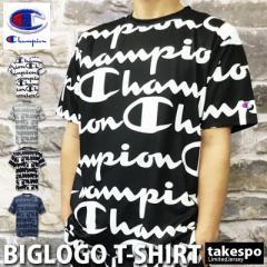 チャンピオン Tシャツ 上 メンズ Champion 総柄 ビッグロゴ 速乾 防臭 ドライ C-VAPOR 送料無料