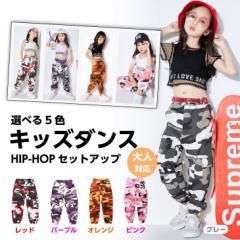 キッズダンス衣装 HIPHOP ヒップホップ 大人対応 子供 ダンス衣装 迷彩パンツ セットアップ トップス パンツ 舞台衣装