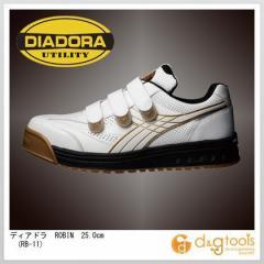 ディアドラ ROBIN マジックテープ式安全靴 ホワイト 25.0cm (RB-11)