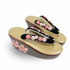 成人式 振袖 草履 単品 桜刺繍 黒 厚底 フリーサイズ メール便不可