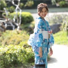 浴衣 レディース 3点セット 水色 椿 (つばき)(d3571) レトロモダン フェミニン 大人 個性派 女性 浴衣 セット 2