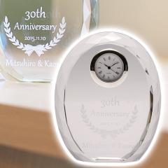 【名入れ ギフト プレゼント】クリスタル時計・記念碑 クリスタル時計 ダイヤカット お祝いギフト 結婚記念日や誕生日・退職祝い