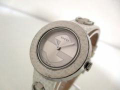グッチ GUCCI 腕時計 Uプレイ 129.5 レディース ベゼル不具合(外れやすい)/SS//革ベルト シルバー【中古】