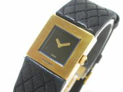 シャネル CHANEL 腕時計 マトラッセ - レディース K18YG×革ベルト 黒【中古】