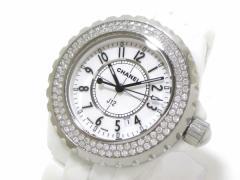 シャネル CHANEL 腕時計 美品 J12 H0967 レディース 33mm/ホワイトセラミック/ダイヤベゼル 白【中古】