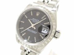 ロレックス ROLEX 腕時計 オイスターパーペチュアルデイト 79240 レディース SS/19コマ+余り2コマ(フルコマ) 黒【中古】