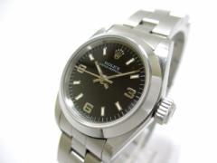 ロレックス ROLEX 腕時計 オイスターパーペチュアル 67180 レディース SS/11コマ(2コマ落ち) 黒【中古】