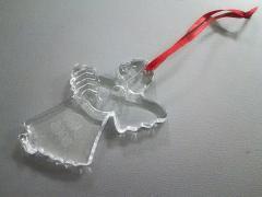 バカラ Baccarat キーホルダー(チャーム) クリア クリスマスオーナメント/天使/2005 クリスタルガラス【中古】
