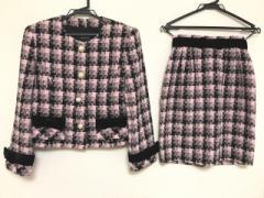 コージワタナベ スタイル スカートスーツ 上下  9 レディース 新品同様 ピンク×白×黒 リボン/ラメ/肩パッド【中古】