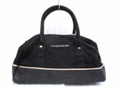 ヴィクトリアシークレット Victorias Secret ハンドバッグ 黒×ベージュ ラメ キャンバス×化学繊維【中古】