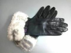 クミキョク 組曲 KUMIKYOKU 手袋 レディース 美品 黒×アイボリー×パープル レザー×ファー【中古】