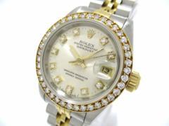 ロレックス ROLEX 腕時計 デイトジャスト 69173G レディース K18YG×SS/10P旧ダイヤ/アフターダイヤベゼル/18コマ シルバー【中古】