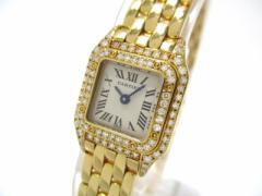 カルティエ Cartier 腕時計 ミニパンテール WF3141B9 レディース ダイヤベゼル/金無垢/2重ダイヤベゼル 白【中古】