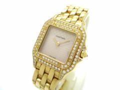 カルティエ Cartier 腕時計 パンテールSM WF3250B9 レディース 金無垢/2重ダイヤベゼル/2Cロゴ文字盤 シルバー【中古】